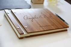 Engraved Bamboo Wedding Guest Book 8.5 x 11 Landscape  Personalize any of our wedding guestbooks with your names and wedding date! Select a