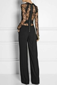 Elie Saab Paneled Lace and Crepe Jumpsuit in Black Look Fashion, High Fashion, Womens Fashion, Fashion Trends, Mode Style, Style Me, Winter Mode, Mode Inspiration, Fall Winter Outfits