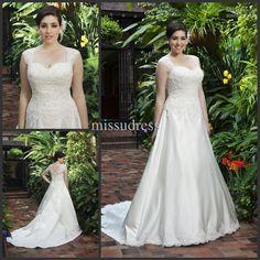 2013 best selling new arrival straps lace applique satin chapel plus size wedding dress bride dress