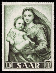 Saarland 1954 Briefmarke Sixtinische Madonna MiNr. 352