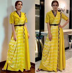 Dia Mirza is sunshine on a gloomy day in a yellow outfit . Trendy Sarees, Stylish Sarees, Stylish Dresses, Saree Wearing Styles, Saree Styles, Half Saree Designs, Saree Blouse Designs, Lehenga, Anarkali