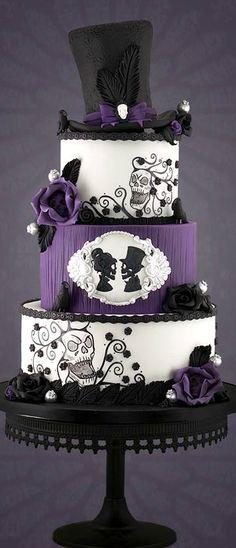 Gothic Wedding Cake – Famous Last Words Gothic Wedding Cake, Purple Wedding Cakes, Steampunk Wedding Cake, Wedding Black, Trendy Wedding, Skull Wedding Cakes, Skull Cakes, Cake Wedding, Wedding Ideas