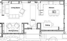 Showhouse library alcove and kitchen floor plan Home Structure, Compact House, Kitchen Floor Plans, Big Houses, Kitchen Design, Kitchen Ideas, Living Spaces, Living Room, Home Art