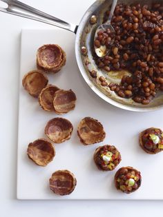 I cannot lie...I would eat the SHIT out of this:  Baked Beans & Bacon Hors D'oeuvres by Peter Callahan