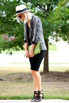 the MRS. & the MOMMA: snakeskin blazer, black shorts, panama hat, summer style #lulusdotcom