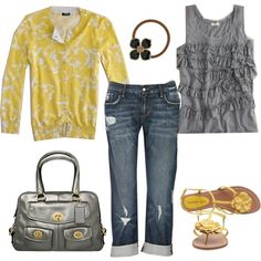 Spring casual outfit - Love the yellow and grey