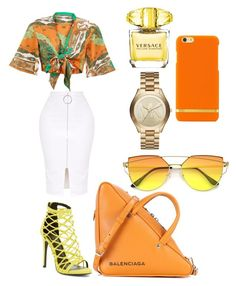 """""""orange theme🍊"""" by kmdudley on Polyvore featuring Wild Diva, Balenciaga, Michael Kors and Versace"""