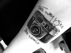 Amazing Black And White Camera Tattoo On Arm