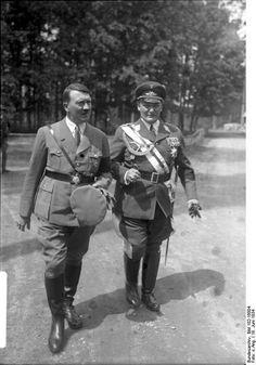 Adolf Hitler and Hermann Goering, (titles included Reichsmarschall, Oberbefehlshaber der Luftwaffe,Ministerprsident von Preuen) went back a long way. Seen here in 1934, Goering was already indulging his love of elaborate uniforms. (He was also a lot thinner). https://sites.google.com/site/warrenbellauthor/