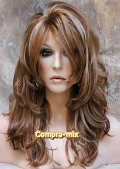 Brand New Style Long Layered Most Trendy Blonde mix Wig with Bangs H-BD - Frisuren - Medium Hair Styles, Curly Hair Styles, Long Layered Haircuts, Long Layered Hair With Side Bangs, Wigs With Bangs, Cut Bangs, Haircut And Color, Long Hair Cuts, Great Hair