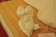 Towel Animal Aboard the Carnival Glory by JodiGrundig, via Flickr  Learn towel origami: http://foldingmagic.com