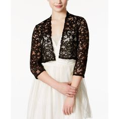 Morgan & Company Juniors' Sequined Lace Shrug ($18) ❤ liked on Polyvore featuring outerwear, black, cropped shrug, sequin shrug, shrug cardigan, evening shrugs and cardigan shrug