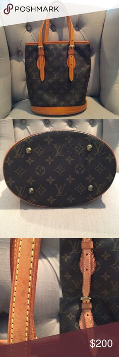 """Louis Vuitton Bucket Bag Louis Vuitton Bucket Bag - Originally purchased this bag used from another reputable seller here on Poshmark. 100% Authentic, older style Bucket Bag from Louis Vuitton. It does have and show significant wear in areas. Water spots, stains, and the interior leather lining is peeling off in areas. I bought it like this with the intent on getting it re-lined. I have never used it since purchasing it, its stayed in its dust bag. Measurements - approx. 9"""" width x 10""""…"""
