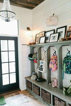 Photo ledge in mudroom ~eclectic farmhouse tour~ Deco Design, Design Case, Design Room, Book Design, Hallway Storage, Mudroom Cubbies, Garage Storage, Hall Storage Ideas, Bench Storage