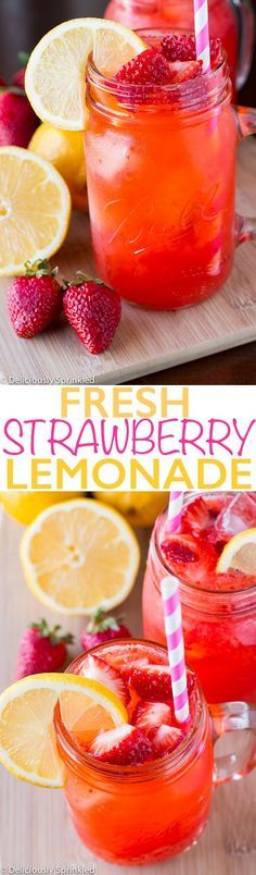 ~~Fresh Strawberry Lemonade | Delicious, super quick and easy to prepare. My tweak, substitute low-glycemic Agave Nectar for the sugar :-) A refreshing summer drink! | Deliciously Sprinkled~~