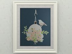 Vintage bird cage paper cutting art free DIY printable template