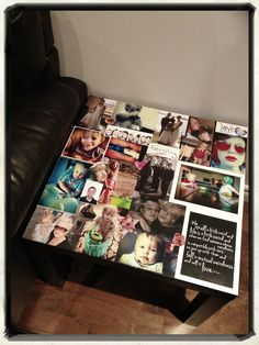 Modge Podge side table.  I've done big photo storage boxes but this is a fun idea for a coffee table or end tables in a finished basement
