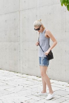Vince Slip On Shoes, Boyfriend Shorts, Aritzia Tank Top