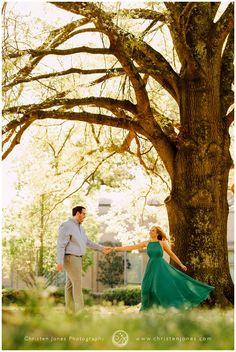 Engagement Photo SEssion | Tree | Green Dress | Formal Dress | Dancing Twirling | Sunset | Golden Light | Memphis |Christen Jones PHotography | Memphis Botanic Garden