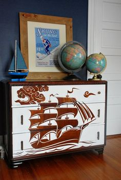 "Love this! Unique. reverse stenciled dresser. this thing is gorgeous. she has a tutorial covering the whole process at her blog. She also gives an important tip: ""Polycrylic is the way to go for a top coat that will go over both paint and stained surfaces, polyurethane will yellow any white paint you go over it with."""