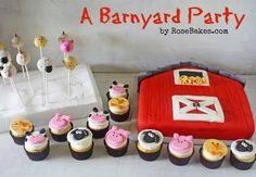 A Barnyard Party: Barn Cake, Farm Animals Cupcakes & Cakepops – Nutztiere Barnyard Cupcakes, Farm Animal Cupcakes, Pig Cupcakes, Farm Animal Party, Barnyard Party, Farm Party, Cupcake Cakes, Cupcake Toppers, Party Cupcakes