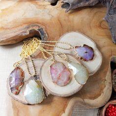 Pastel Agate Necklace/ Pastel Summer Agate Pendant/ by EwelinaPas, $38.00