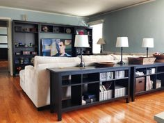 """Living room Entertainment Center Angle 2 Black/Brown Furniture - IKEA Hemnes Custom Sectional Sofa - Jonathan Louis """"Baxter"""" in Large Corduroy Oatmeal color Lamps - Target"""