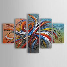 pinturas al óleo de un conjunto de 5 círculos coloridos lienzos pintados a mano abstractos modernos listos para colgar - USD $ 129.99