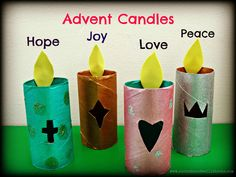 Glowing Advent Candles made from cardboard tubes