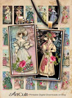 1 Inch Round Digital Collage Sheet Instant Download Retro Sewing Craft Girls Clip Art Crochet Sewing Needlework Girls Craft Printables