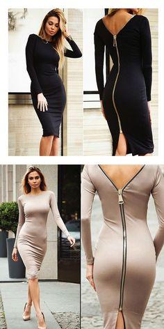 sexy pencil autumn dress Europe full sleeve zipper back dress knitting cotton Elegant S curve Package hip sheath women dress