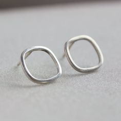 Square sterling silver stud earrings minimal by keepityours