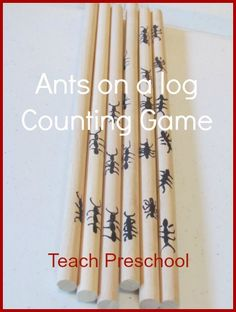Letter A, Counting, Ants on a Log Game, extension of Hey Little Ant
