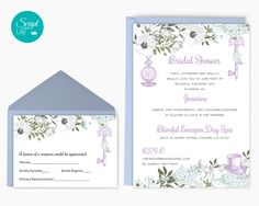 "Alice in Wonderland Bridal Shower Template | FREE Response Card | Instant Download | Lavender / Mint Green | Word or Pages Pc & Mac | 5""x7"" by ScriptAndLily on Etsy"