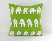 Childrens Pillow Cover Nursery Room Green by BlossomPillowCo