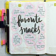 Day 23 of #listersgottalist: favorite snacks #journal #artjournal #hobonichi #planner #diary #notebook #filofax #mtn #midori #scrapbooking #stationery #pens #doodles #doodling #type #typography #letters #lettering #handwriting #handlettering #lettering #calligraphy #brushpens #brushlettering