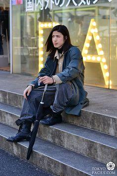 Name: Eito Coat: Vintage Jacket: Lee Shirt: Lad Musician Jeans: Limi Feu Shoes: Junya Watanabe Japanese Street Fashion, Tokyo Fashion, Tokyo Street Style, Tokyo Style, Japan Style, Japanese Men, Limi Feu, Vintage Jacket, Fashion Sketches