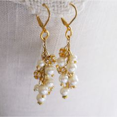 Bridal Chandelier Earrings Pearl Crystal by BridalDiamantes ...