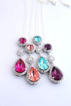 Rainbow  Wedding Swarovski Teardrop Necklace by Estylo Jewelry
