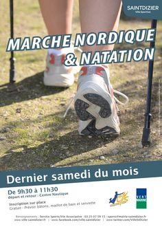 Affiche pour la Marche nordique et natation. Saison 2013-2014. Le dernier samedi du mois à Saint-Dizier. Création originale.