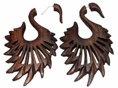 A Pair of Brown Natural Wood USA African Organic Dangler Wooden Earrings EAR1243 #krishnagemsnjewels #DropDangle
