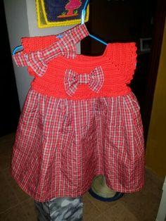 Vestido croché e tecido