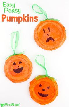 This Pumpkin Craft is perfect for toddlers and preschoolers. Kids will love decorating their homemade pumpkins with fun cheeky faces. This characterful pumpkin craft makes great Halloween decorations and looks fabulous in the window as Halloween Suncatche Halloween Theme Preschool, Halloween Crafts For Kids, Halloween Activities, Crafts For Kids To Make, Halloween Decorations, Halloween Week, Halloween Pumpkins, Kids Crafts, Halloween Party