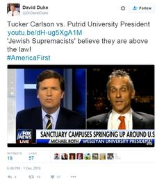 """Tucker Carlson is literally our greatest ally. I don't believe that he doesn't hate the Jews."" -- Neo-Nazi Andrew Anglin, The Daily Stormer   Following the news that Megyn Kelly had left Fox News for NBC, a commenter at the pro-Donald Trump subreddit ""r/The_Donald"" -- a key gathering place for the ""alt-right"" -- posed a qu"