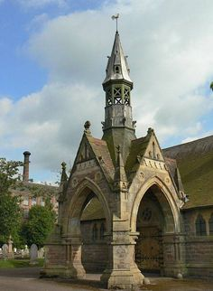 Porte cochere High Gothic, Victorian style. This is the chapel in Long Eaton's West Park Cemetery, built in 1889.