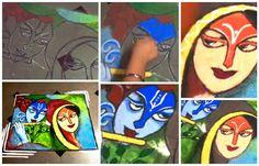 How to draw Radha-Krishna poster(Rangoli)