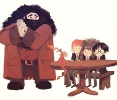 Hagird, Ron Weasley, Hermione Granger, and Harry Potter with dragon by Lisa Villella Harry Potter Drawings, Harry Potter Fan Art, Harry Potter Books, Harry Potter Universal, Harry Potter Fandom, Harry Potter Memes, Harry Potter World, Harry Potter Hogwarts, Rúbeo Hagrid