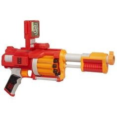 This powerful blaster holds 10 darts fully loaded and the barrel auto-rotates when you pull the trigger for major rapid-firing action!