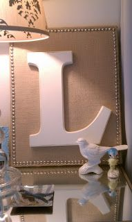 Burlap on canvas with a letter and pearls around the trim