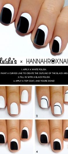 21 Lazy Manicure Ideas: #16. Simple Black and White Nail Design